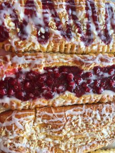 Cherry, peanut, pecan and almond coffee cake